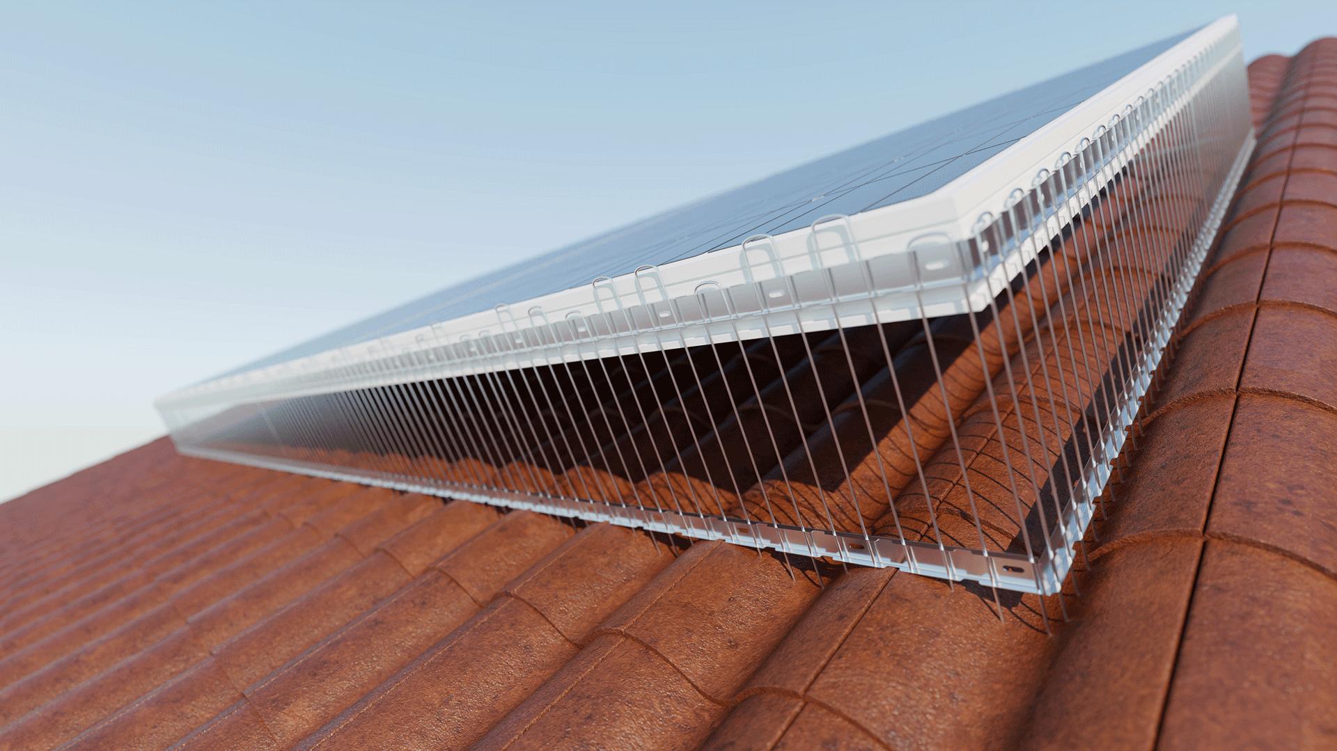 TAS 1er Solarspitzen mit zwei Leisten 1 m lang,  verstellbare Spikes aus Edelstahl