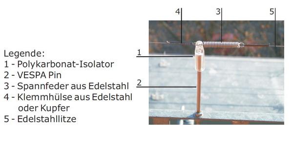 VESPA Elektro Pin 2er mit M4 Gewinde aus 1.4301 Edelstahl Rostfrei