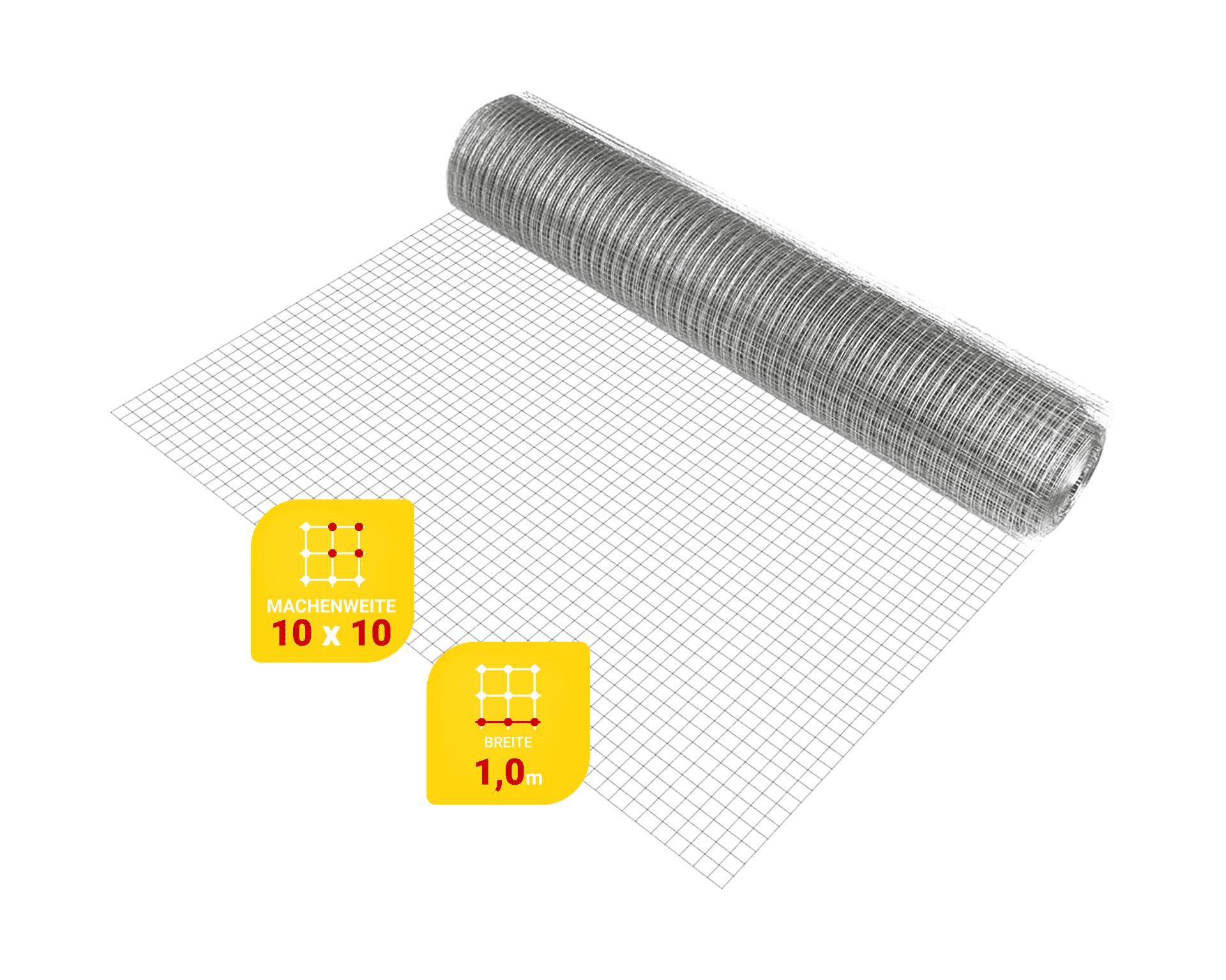 Edelstahlnetz Maschenweite 10 mm, Drahtstärke 1 mm, Breite 1.0 m, - Zuschnitt