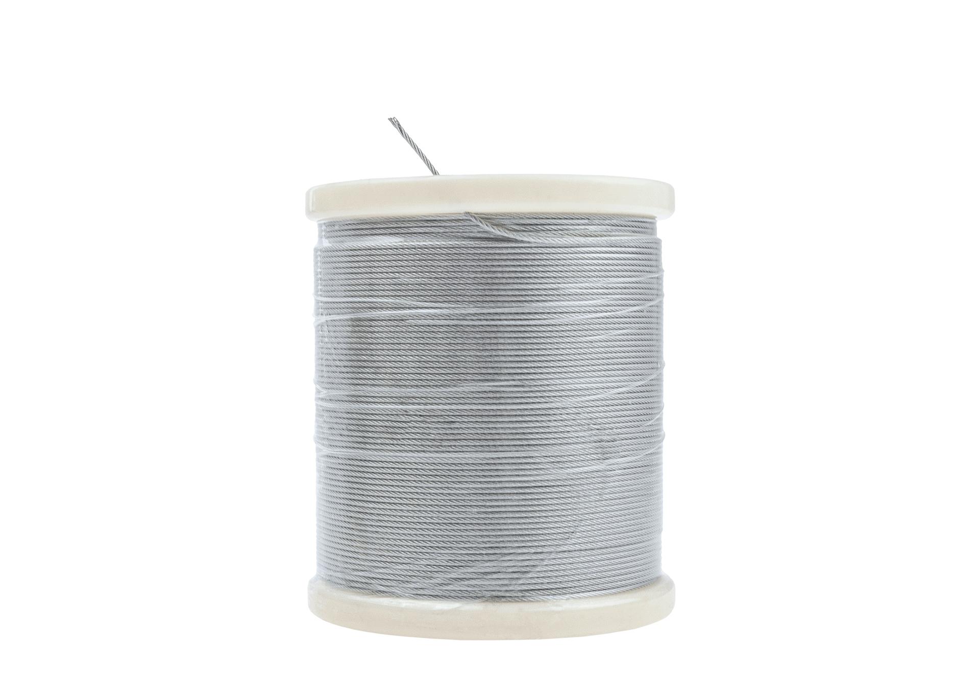 Edelstahlseil 1.5 mm stark, 7x7 aus 1.4401 Edeltahl Rostfrei auf Kunststoffspule