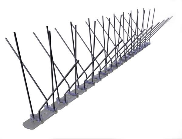TAS 4er Taubenabwehrspitzen auf Polycarbonatleiste 50 cm lang, Taubenspikes 1.3 mm stark, für den leichteren Befallsdruck