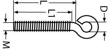 Ösenschrauben Edelstahl M4 x 10 mm