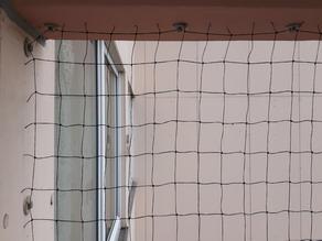 Balkon - Set für Balkone bis 10 m x 5 m (passend zuschneidbar), 1 geknotetes Netz 50 mm Maschenweite