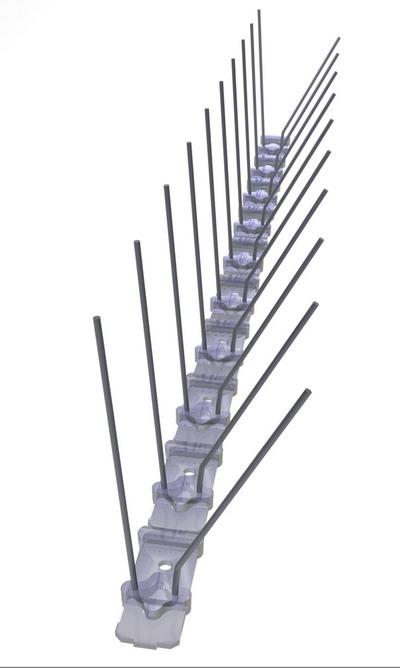 TAS 2er Taubenabwehrspitzen auf Polycarbonatleiste 50 cm lang, Taubenspikes 1.3 mm stark, für den leichteren Befallsdruck