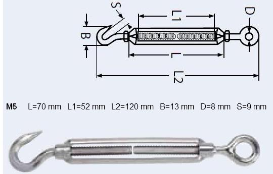 Spannschloss Edelstahl M5 x 120 mm Öse/Haken