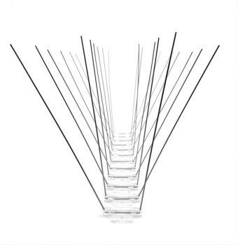RESTPOSTEN TAS 4er Taubenabwehrspitzen auf Polycarbonatleiste 33 cm lang, Taubenspikes 1.4 mm stark, Spikeslänge 165 mm