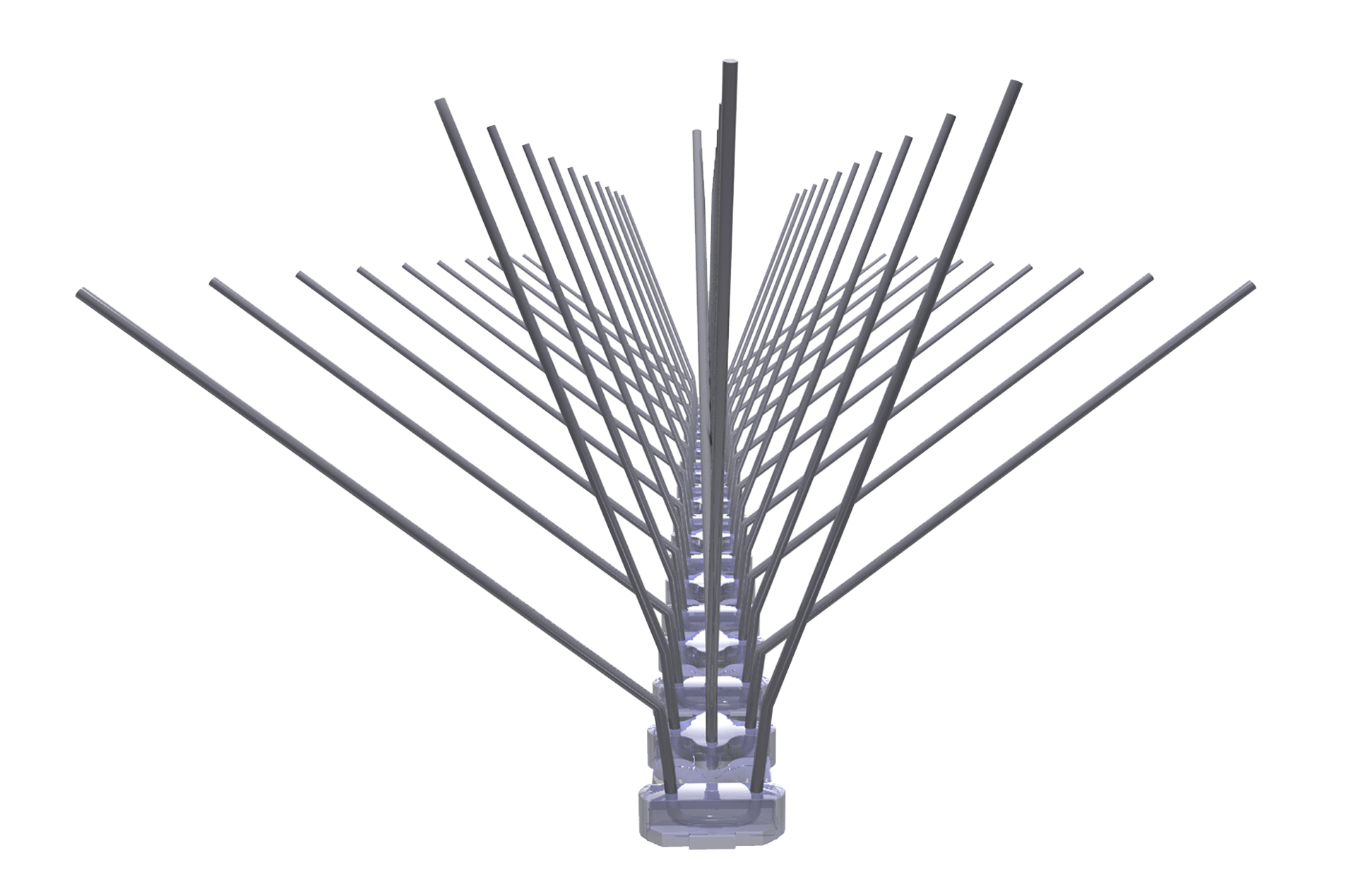 TAS 5er Taubenabwehrspitzen auf Polycarbonatleiste 50 cm lang, Taubenspikes 1.3 mm stark, für den leichteren Befallsdruck
