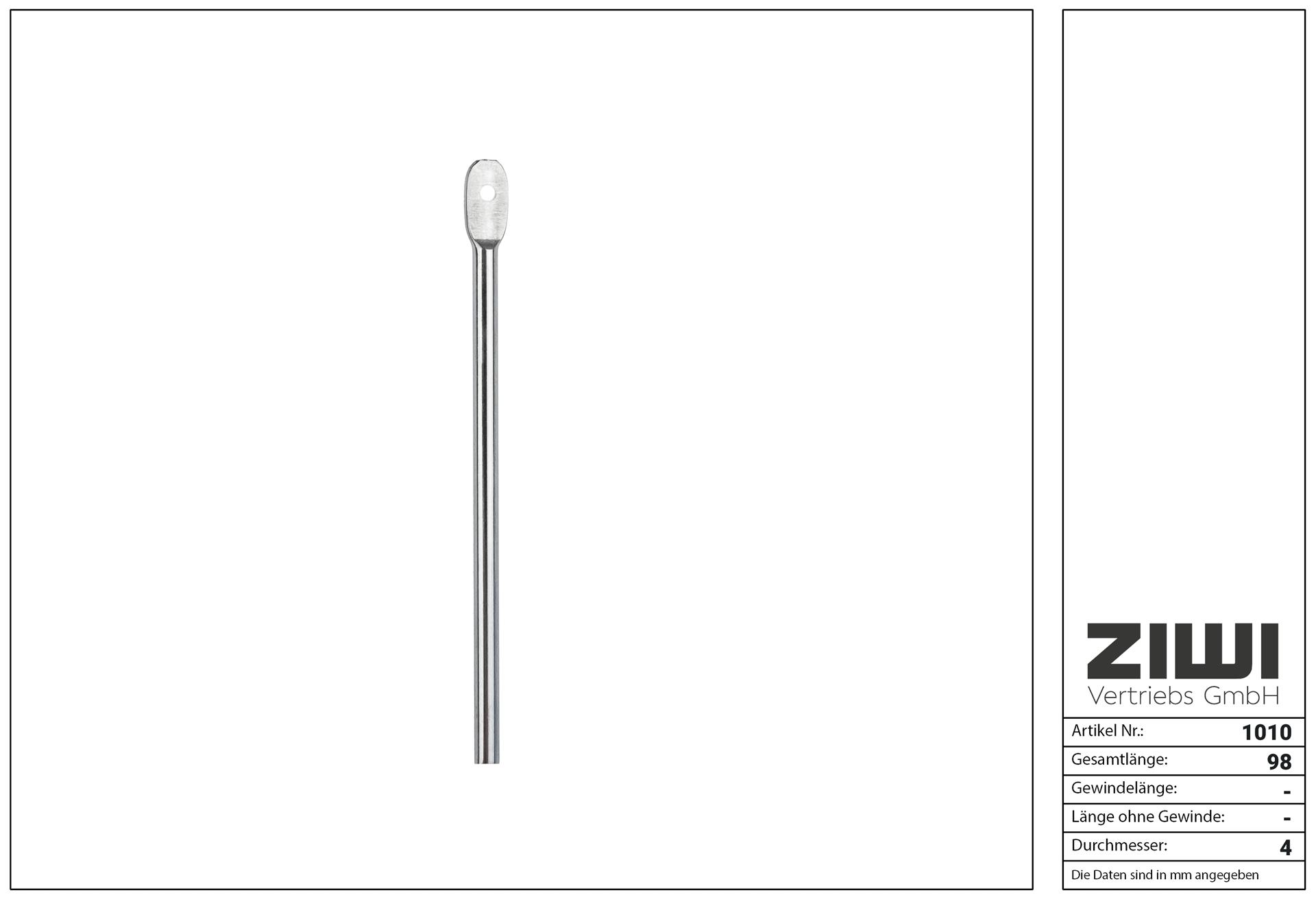 VESPA 1er Pin (ohne Gewinde) aus 1.4301 Edelstahl Rostfrei