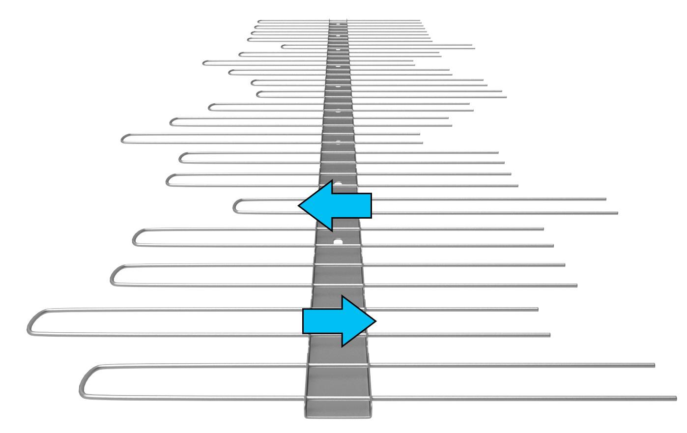 TAS 1er Solarspitzen 50 cm lang, 2.0 mm stark, verstellbare Spikes bis max.160 mm aus Edelstahl Rostfrei
