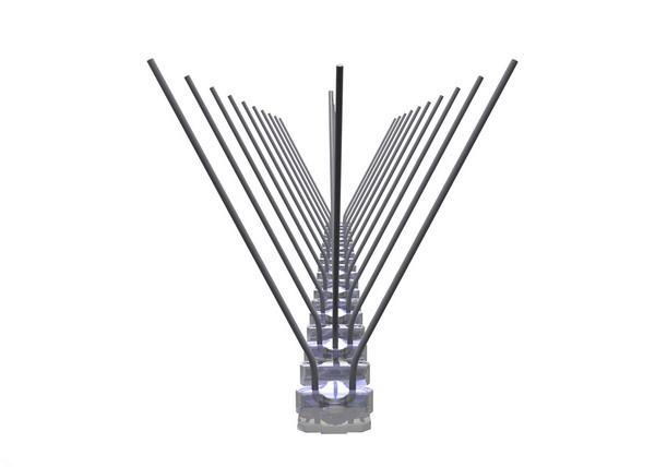 TAS 3er Taubenabwehrspitzen auf Polycarbonatleiste 50 cm lang, Taubenspikes 1.3 mm stark, für den leichteren Befallsdruck