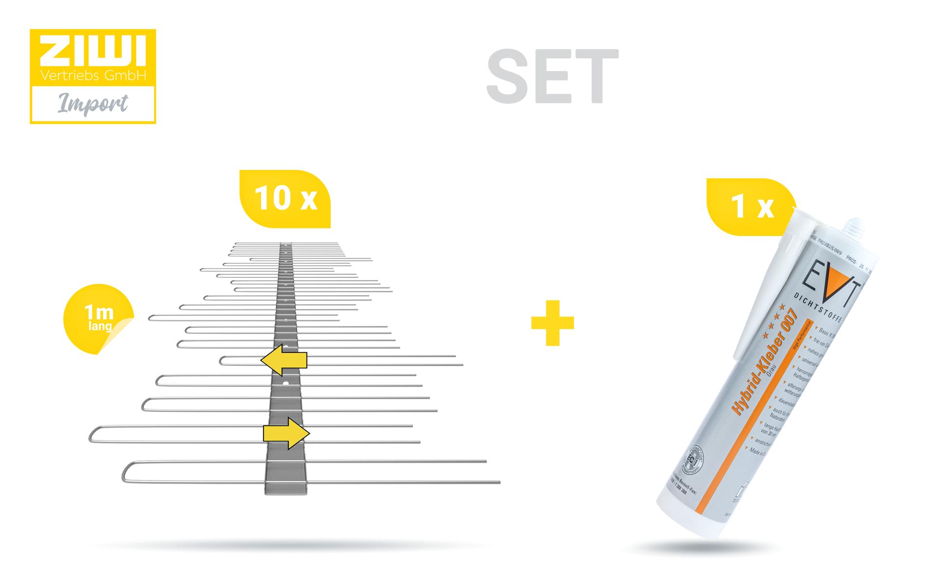 TAS 1er Solarspikes aus Edelstahl 10 Stück 1 m lang und 1 Stück Hybrid Kleber - SET