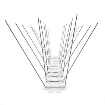 RESTPOSTEN TAS 4er Taubenabwehrspitzen auf Polycarbonatleiste 33 cm lang, Taubenspikes 1.4 mm stark, Spikeslänge 125 mm