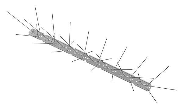 RESTPOSTEN TAS 3er Taubenabwehrspitzen auf Edelstahlleiste 50 cm lang, Taubenspikes 1.3 mm stark, für den leichteren Befallsdruck