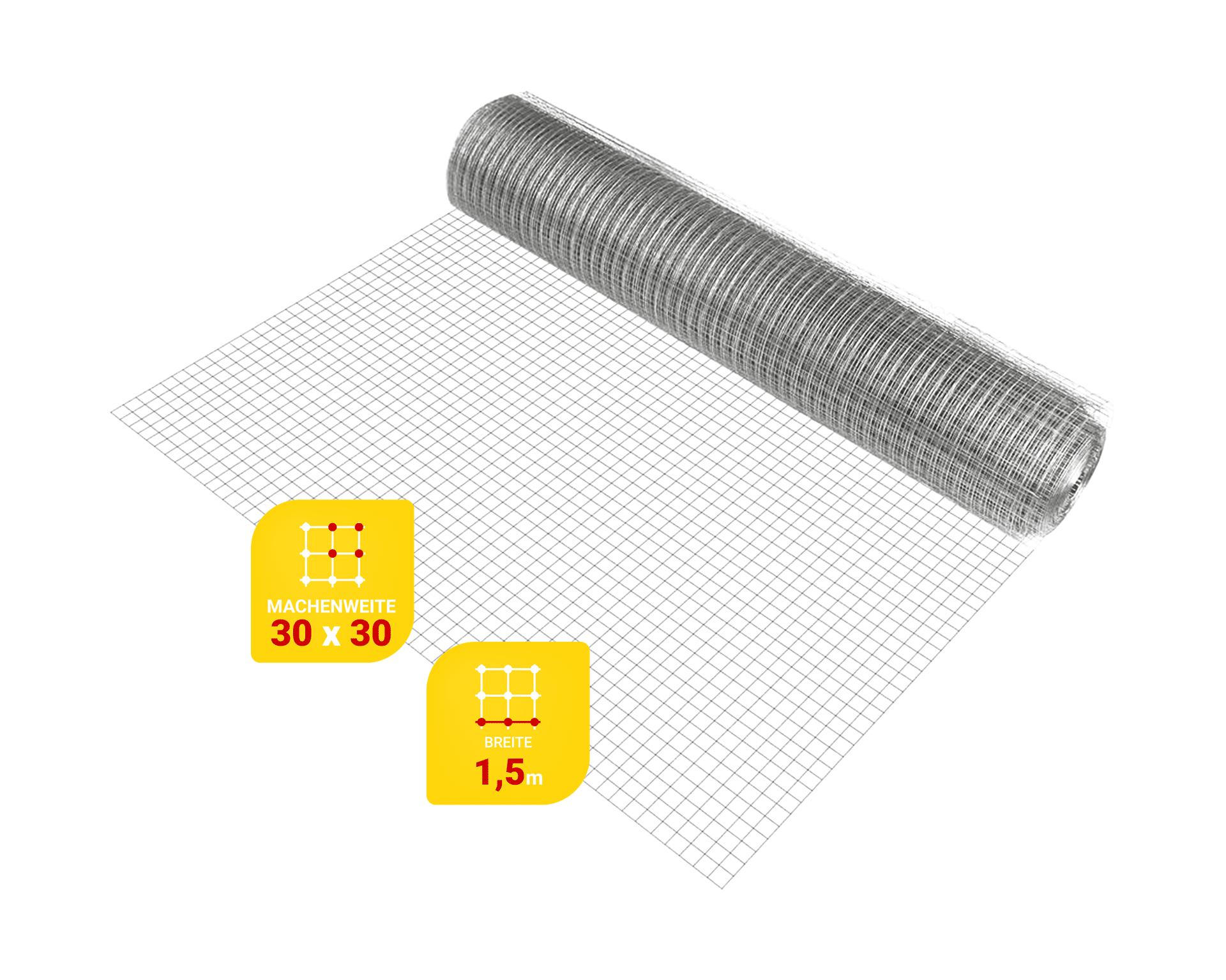 Edelstahlgitter Maschenweite 30 mm, Drahtstärke 1.0 mm, Breite 1.5 m, - Zuschnitt